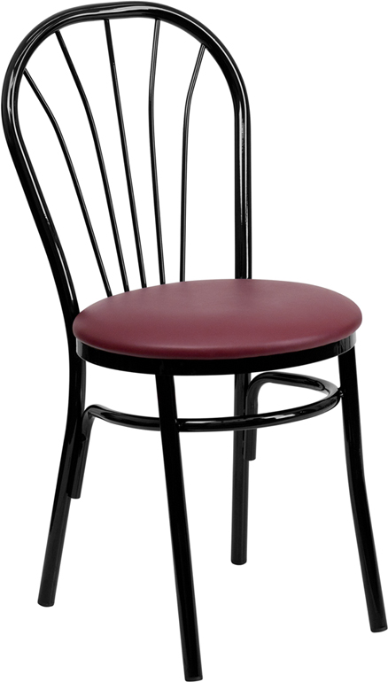 ERGONOMIC HOME TOUGH ENOUGH  Series Fan Back Metal Chair - Burgundy Vinyl Seat