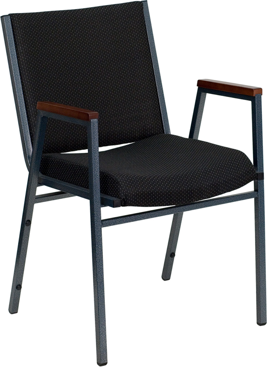 Ergonomic Home TOUGH ENOUGH Series Heavy Duty, 3'' Thickly Padded, Black Patterned Upholstered Stack Chair with Arms and Ganging Bracket <b><font color=green>50% Off Read More Below...</font></b>