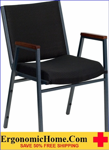 Ergonomic Home TOUGH ENOUGH Series Heavy Duty, 3'' Thickly Padded, Black Patterned Upholstered Stack Chair with Arms | Ganging Chair EH-XU-60154-BK-GG <b><font color=green>50% Off Read More Below...</font></b>