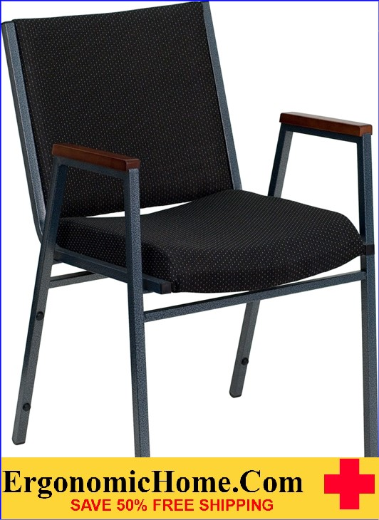 </b></font>Ergonomic Home TOUGH ENOUGH Series Heavy Duty, 3'' Thickly Padded, Black Patterned Upholstered Stack Chair with Arms  Ganging Chair EH-XU-60154-BK-GG <b></font>. </b></font></b>