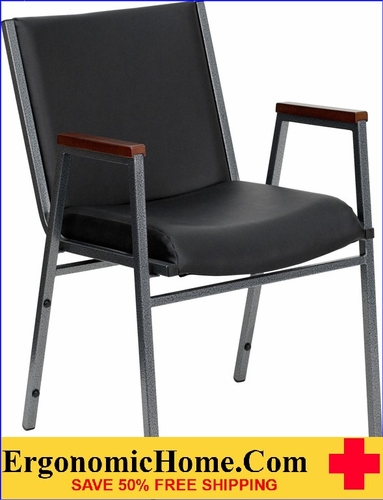 Ergonomic Home TOUGH ENOUGH Series Heavy Duty, 3'' Thickly Padded, Black Vinyl Upholstered Stack Chair with Arms | Ganging Chair EH-XU-60154-BK-VYL-GG <b><font color=green>50% Off Read More Below...</font></b>