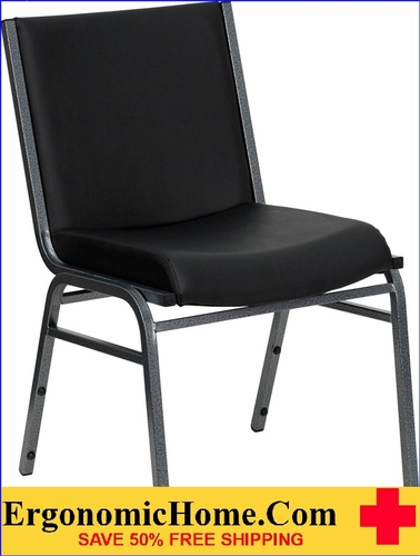 Ergonomic Home TOUGH ENOUGH Series Heavy Duty, 3'' Thickly Padded, Black Vinyl Upholstered Stack Chair | Ganging Chair EH-XU-60153-BK-VYL-GG <b><font color=green>50% Off Read More Below...</font></b>