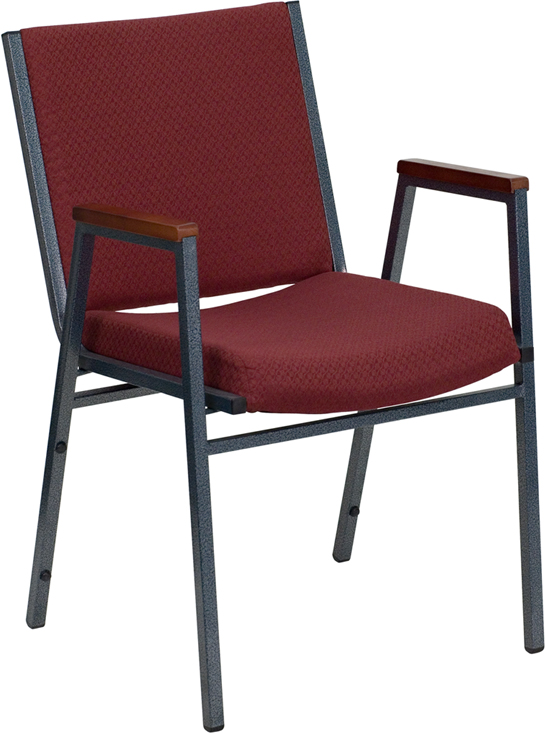 Ergonomic Home TOUGH ENOUGH Series Heavy Duty, 3'' Thickly Padded, Burgundy Patterned Upholstered Stack Chair with Arms and Ganging Bracket <b><font color=green>50% Off Read More Below...</font></b>