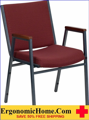 Ergonomic Home TOUGH ENOUGH Series Heavy Duty, 3'' Thickly Padded, Burgundy Patterned Upholstered Stack Chair with Arms | Ganging Chair EH-XU-60154-BY-GG <b><font color=green>50% Off Read More Below...</font></b>