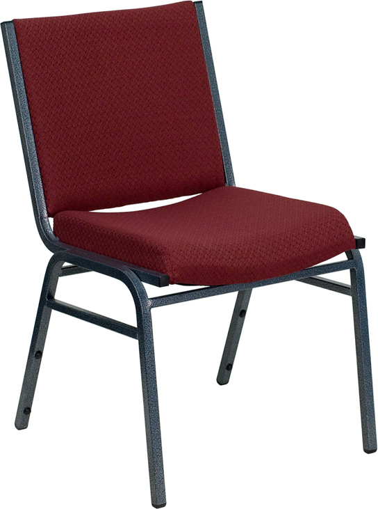 HERCULES Series Heavy Duty, 3'' Thickly Padded, Burgundy Patterned Upholstered Stack Chair with Ganging Bracket