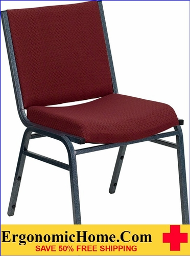 Ergonomic Home TOUGH ENOUGH Series Heavy Duty, 3'' Thickly Padded, Burgundy Patterned Upholstered Stack Chair | Ganging Chair EH-XU-60153-BY-GG <b><font color=green>50% Off Read More Below...</font></b>