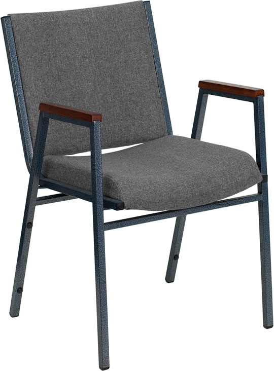 Ergonomic Home TOUGH ENOUGH Series Heavy Duty, 3'' Thickly Padded, Gray Upholstered Stack Chair with Arms and Ganging Bracket <b><font color=green>50% Off Read More Below...</font></b>