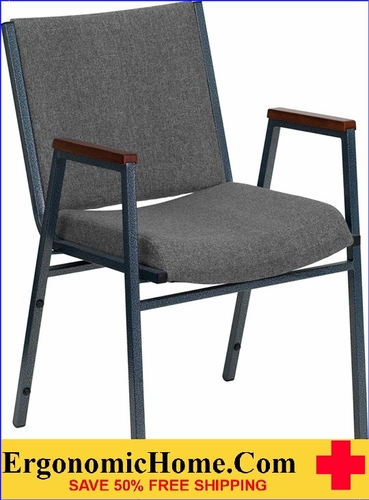 Ergonomic Home TOUGH ENOUGH Series Heavy Duty, 3'' Thickly Padded, Gray Upholstered Stack Chair with Arms | Ganging Chair EH-XU-60154-GY-GG <b><font color=green>50% Off Read More Below...</font></b>