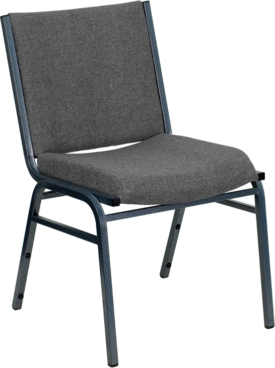 Ergonomic Home TOUGH ENOUGH Series Heavy Duty, 3'' Thickly Padded, Gray Upholstered Stack Chair with Ganging Bracket <b><font color=green>50% Off Read More Below...</font></b>