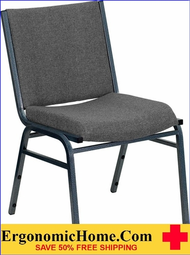 Ergonomic Home TOUGH ENOUGH Series Heavy Duty, 3'' Thickly Padded, Gray Upholstered Stack Chair | Ganging Chair EH-XU-60153-GY-GG <b><font color=green>50% Off Read More Below...</font></b></font></b>