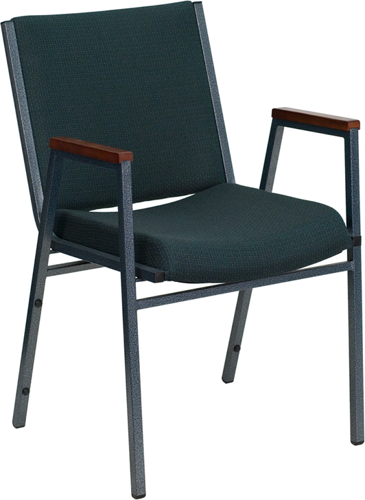 Ergonomic Home TOUGH ENOUGH Series Heavy Duty, 3'' Thickly Padded, Green Patterned Upholstered Stack Chair with Arms and Ganging Bracket <b><font color=green>50% Off Read More Below...</font></b>