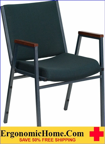Ergonomic Home TOUGH ENOUGH Series Heavy Duty, 3'' Thickly Padded, Green Patterned Upholstered Stack Chair with Arms | Ganging Chair EH-XU-60154-GN-GG <b><font color=green>50% Off Read More Below...</font></b>