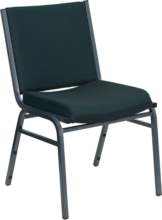 HERCULES Series Heavy Duty, 3'' Thickly Padded, Green Patterned Upholstered Stack Chair with Ganging Bracket