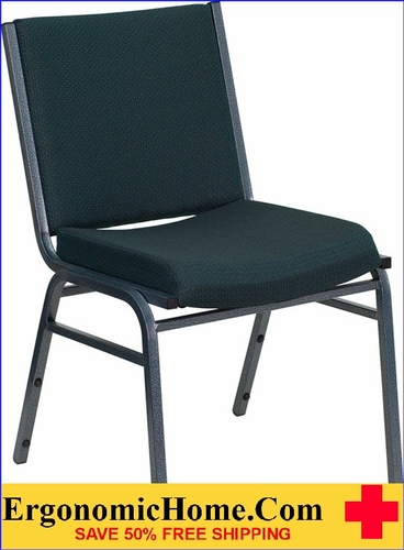 Ergonomic Home TOUGH ENOUGH Series Heavy Duty, 3'' Thickly Padded, Green Patterned Upholstered Stack Chair | Ganging Chair EH-XU-60153-GN-GG <b><font color=green>50% Off Read More Below...</font></b></font></b>
