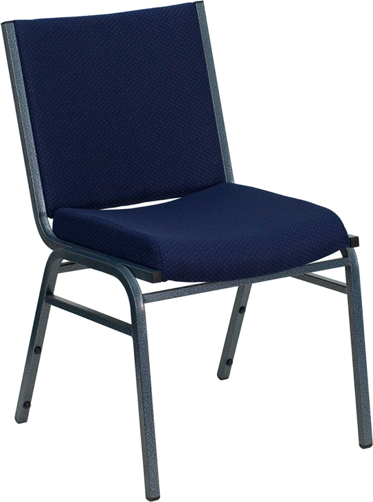 Ergonomic Home Series Heavy Duty, 3'' Thickly Padded, Navy Blue Patterned Upholstered Stack Chair with Ganging Bracket <b><font color=green>50% Off Read More Below...</font></b>