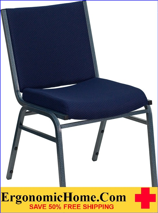</b></font>Ergonomic Home Series Heavy Duty, 3'' Thickly Padded, Navy Blue Patterned Upholstered Stack Chair  Ganging Chair EH-XU-60153-NVY-GG <b></font>. </b></font></b>