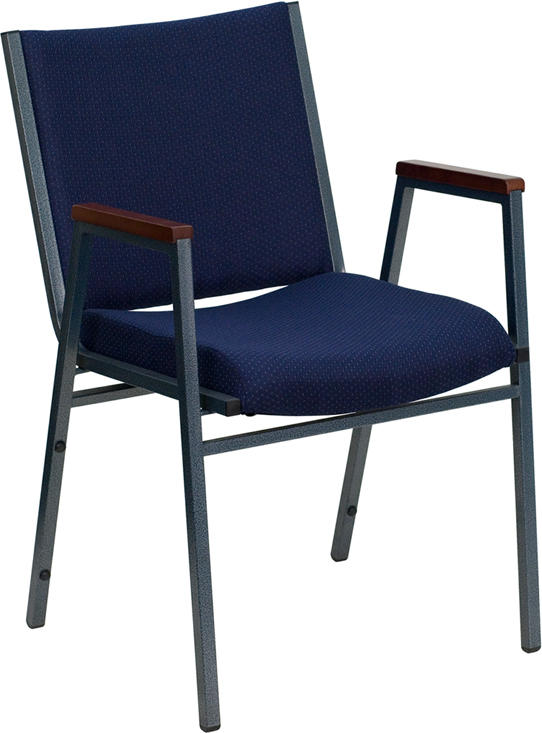 Ergonomic Home TOUGH ENOUGH Series Heavy Duty, 3'' Thickly Padded, Navy Patterned Upholstered Stack Chair with Arms and Ganging Bracket XU-60154-NVY-GG <b><font color=green>50% Off Read More Below...</font></b>
