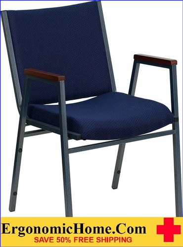 Ergonomic Home TOUGH ENOUGH Series Heavy Duty, 3'' Thickly Padded, Navy Patterned Upholstered Stack Chair with Arms | Ganging Chair EH-XU-60154-NVY-GG <b><font color=green>50% Off Read More Below...</font></b>