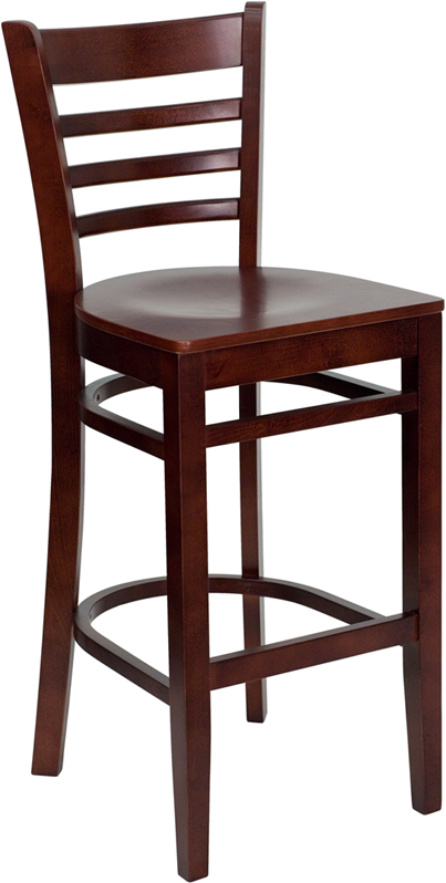 ERGONOMIC HOME TOUGH ENOUGH Series Mahogany Finished Ladder Back Wooden Restaurant Barstool <b><font color=green>50% Off Read More Below...</font></b>