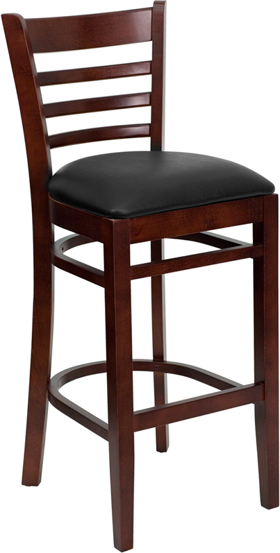 ERGONOMIC HOME TOUGH ENOUGH Series Mahogany Finished Ladder Back Wooden Restaurant Barstool - Black Vinyl Seat <b><font color=green>50% Off Read More Below...</font></b>