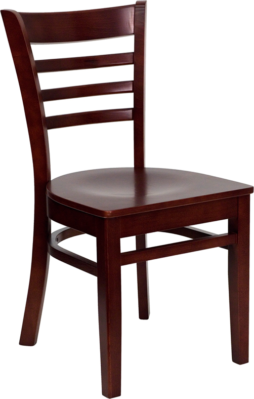 Ergonomic Home Tough Enough Series Mahogany Finished Ladder Back Wooden Restaurant Chair B