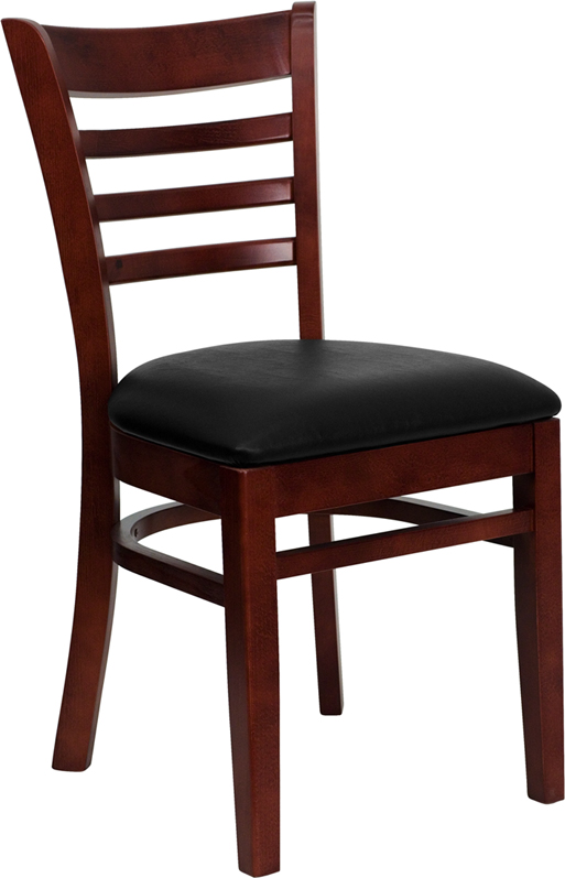 ERGONOMIC HOME TOUGH ENOUGH Series Mahogany Finished Ladder Back Wooden Restaurant Chair - Black Vinyl Seat <b><font color=green>50% Off Read More Below...</font></b>