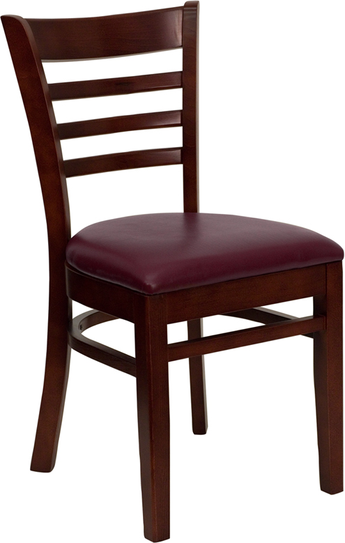 ERGONOMIC HOME TOUGH ENOUGH Series Mahogany Finished Ladder Back Wooden Restaurant Chair - Burgundy Vinyl Seat <b><font color=green>50% Off Read More Below...</font></b>