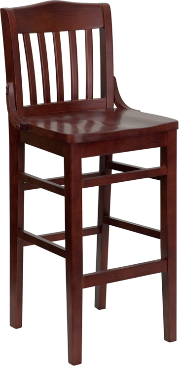 ERGONOMIC HOME TOUGH ENOUGH Series Mahogany Finished School House Back Wooden Restaurant Barstool <b><font color=green>50% Off Read More Below...</font></b>