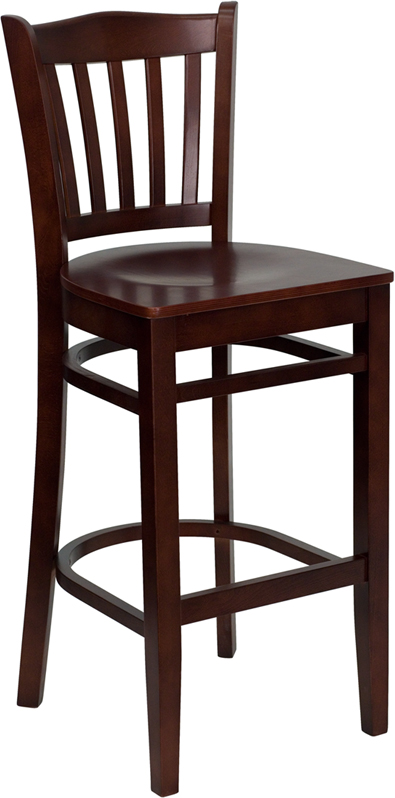 ERGONOMIC HOME TOUGH ENOUGH Series Mahogany Finished Vertical Slat Back Wooden Restaurant Barstool <b><font color=green>50% Off Read More Below...</font></b>