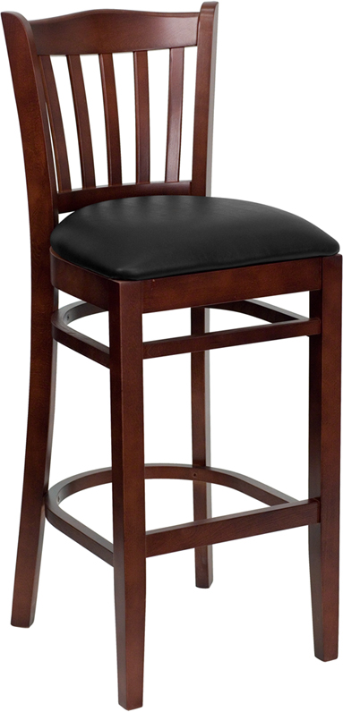 ERGONOMIC HOME TOUGH ENOUGH Series Mahogany Finished Vertical Slat Back Wooden Restaurant Barstool - Black Vinyl Seat <b><font color=green>50% Off Read More Below...</font></b>