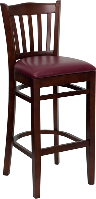 ERGONOMIC HOME TOUGH ENOUGH Series Mahogany Finished Vertical Slat Back Wooden Restaurant Barstool - Burgundy Vinyl Seat <b><font color=green>50% Off Read More Below...</font></b>