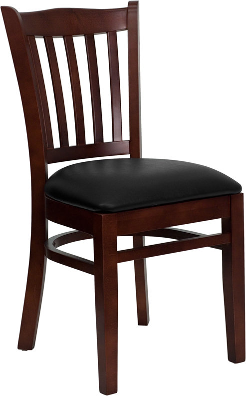 ERGONOMIC HOME TOUGH ENOUGH Series Mahogany Finished Vertical Slat Back Wooden Restaurant Chair - Black Vinyl Seat <b><font color=green>50% Off Read More Below...</font></b>