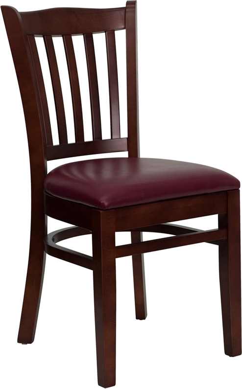 ERGONOMIC HOME TOUGH ENOUGH Series Mahogany Finished Vertical Slat Back Wooden Restaurant Chair - Burgundy Vinyl Seat <b><font color=green>50% Off Read More Below...</font></b>