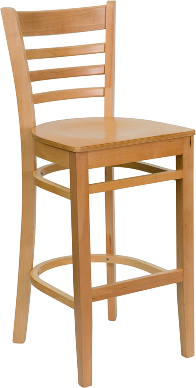 ERGONOMIC HOME TOUGH ENOUGH Series Natural Wood Finished Ladder Back Wooden Restaurant Barstool <b><font color=green>50% Off Read More Below...</font></b>