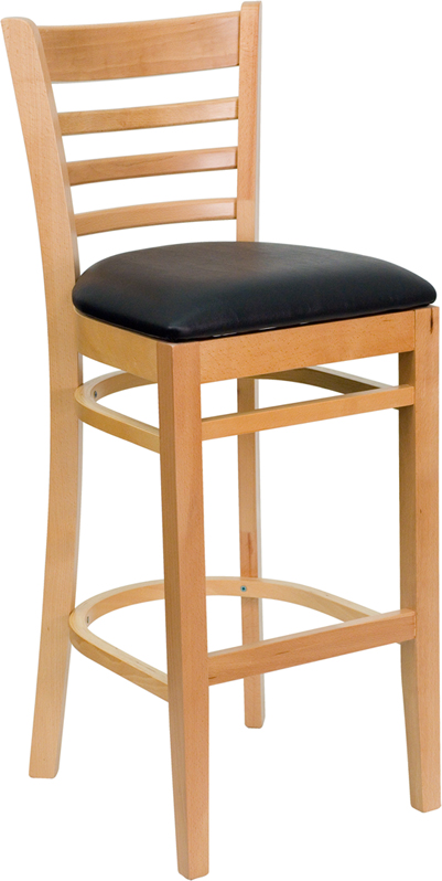 ERGONOMIC HOME TOUGH ENOUGH Series Natural Wood Finished Ladder Back Wooden Restaurant Barstool - Black Vinyl Seat <b><font color=green>50% Off Read More Below...</font></b>