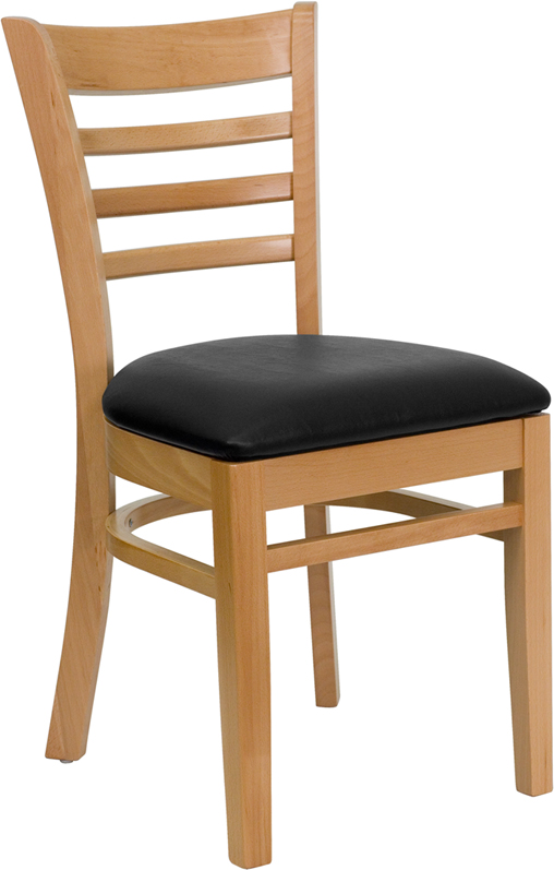 ERGONOMIC HOME TOUGH ENOUGH Series Natural Wood Finished Ladder Back Wooden Restaurant Chair - Black Vinyl Seat <b><font color=green>50% Off Read More Below...</font></b>