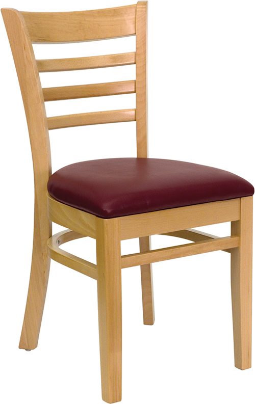 ERGONOMIC HOME TOUGH ENOUGH Series Natural Wood Finished Ladder Back Wooden Restaurant Chair - Burgundy Vinyl Seat <b><font color=green>50% Off Read More Below...</font></b>