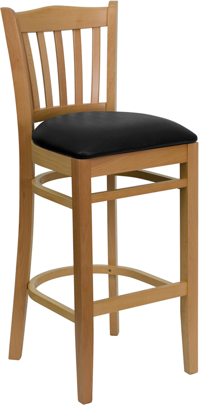ERGONOMIC HOME TOUGH ENOUGH Series Natural Wood Finished Vertical Slat Back Wooden Restaurant Barstool - Black Vinyl Seat <b><font color=green>50% Off Read More Below...</font></b>