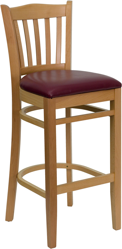 ERGONOMIC HOME TOUGH ENOUGH Series Natural Wood Finished Vertical Slat Back Wooden Restaurant Barstool - Burgundy Vinyl Seat <b><font color=green>50% Off Read More Below...</font></b>