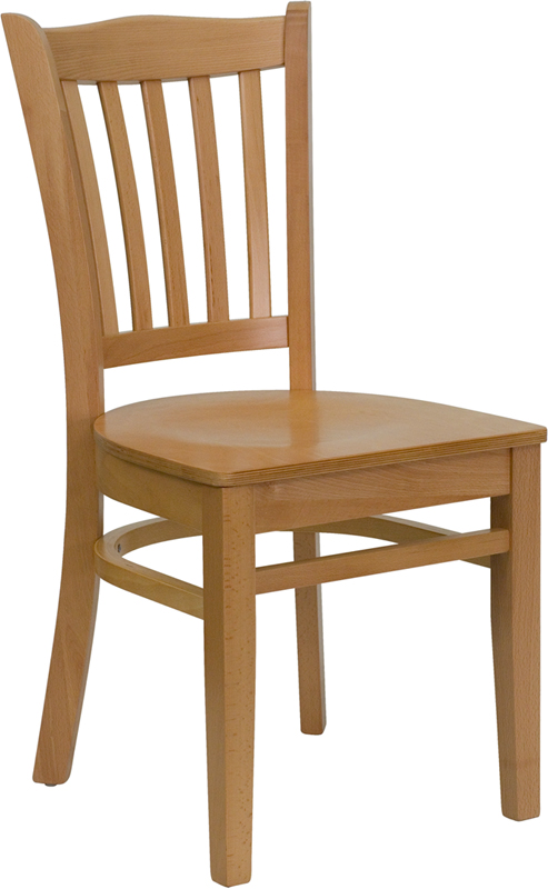 ERGONOMIC HOME TOUGH ENOUGH Series Natural Wood Finished Vertical Slat Back Wooden Restaurant Chair <b><font color=green>50% Off Read More Below...</font></b>