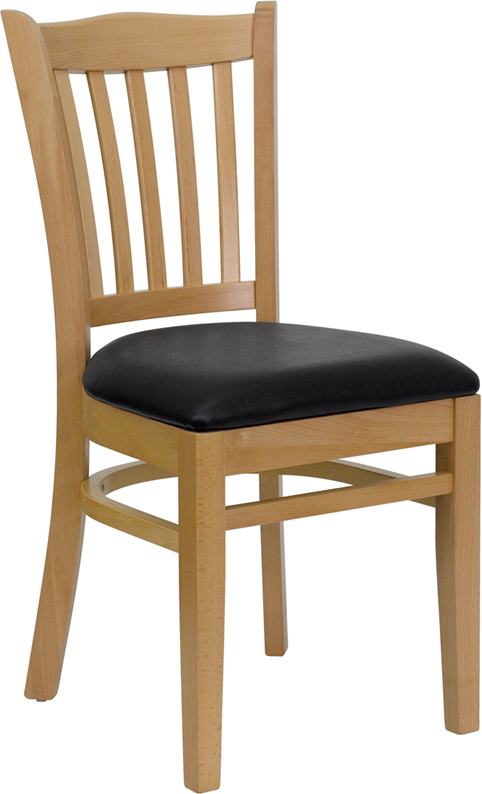 ERGONOMIC HOME TOUGH ENOUGH Series Natural Wood Finished Vertical Slat Back Wooden Restaurant Chair - Black Vinyl Seat <b><font color=green>50% Off Read More Below...</font></b>