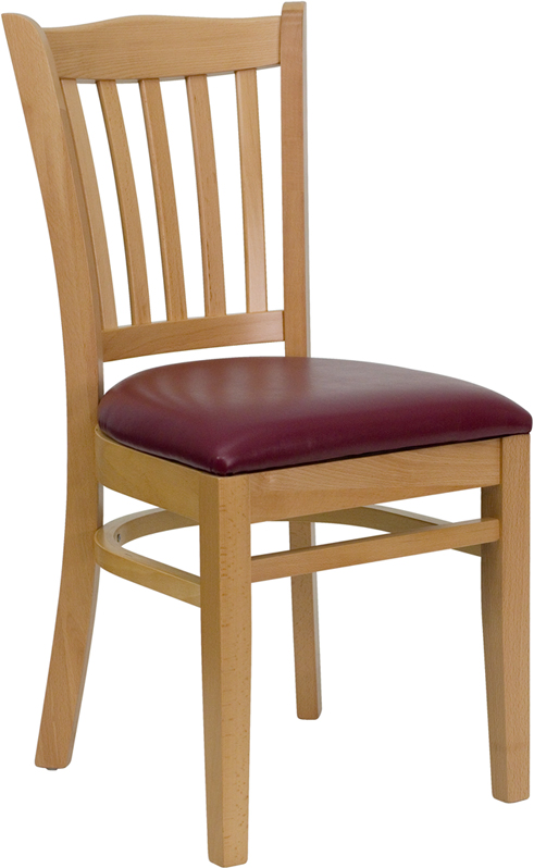 ERGONOMIC HOME TOUGH ENOUGH Series Natural Wood Finished Vertical Slat Back Wooden Restaurant Chair - Burgundy Vinyl Seat <b><font color=green>50% Off Read More Below...</font></b>