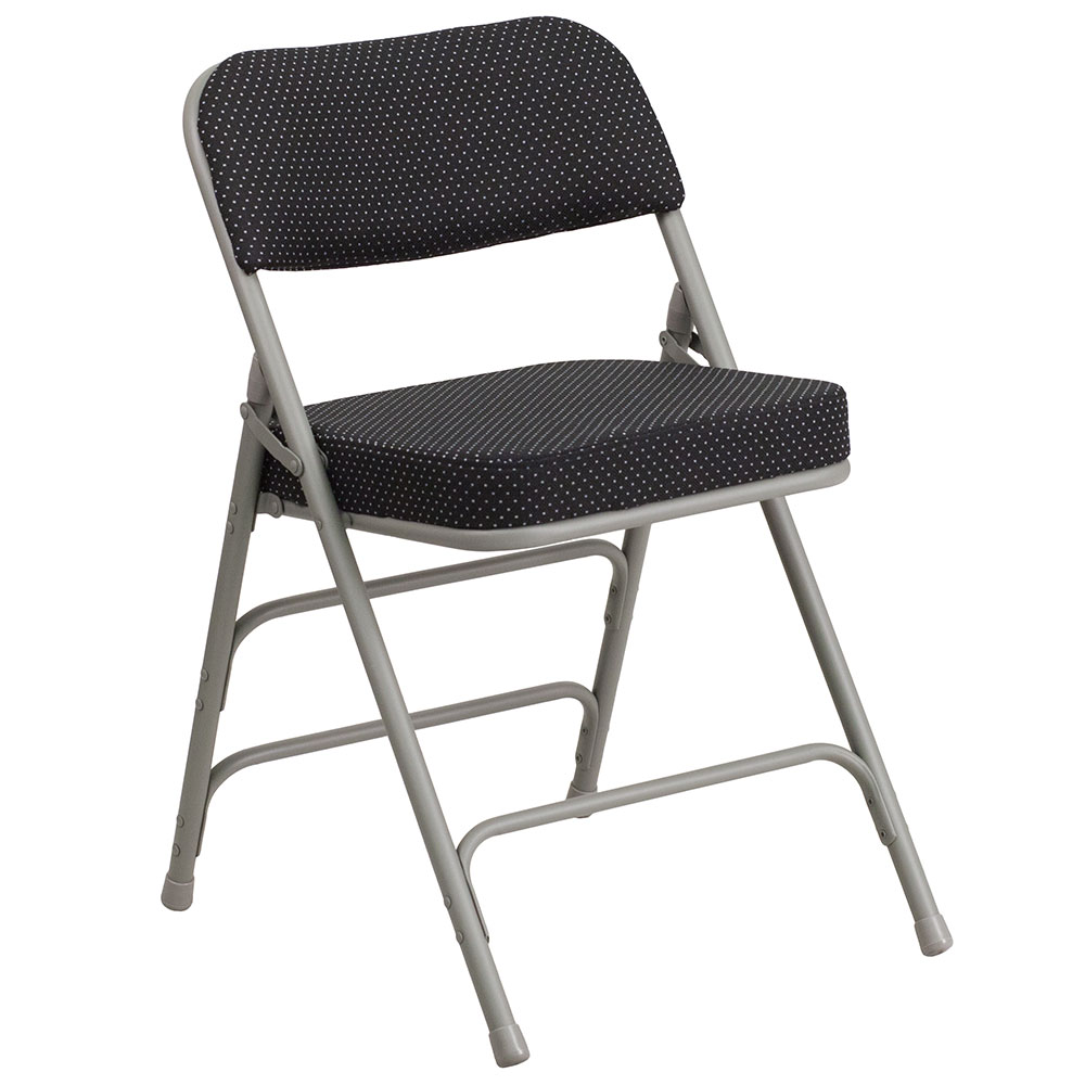 HERCULES Series Premium Curved Triple Braced & Double Hinged Black Pin-Dot Fabric Upholstered Metal Folding Chair</font></b>