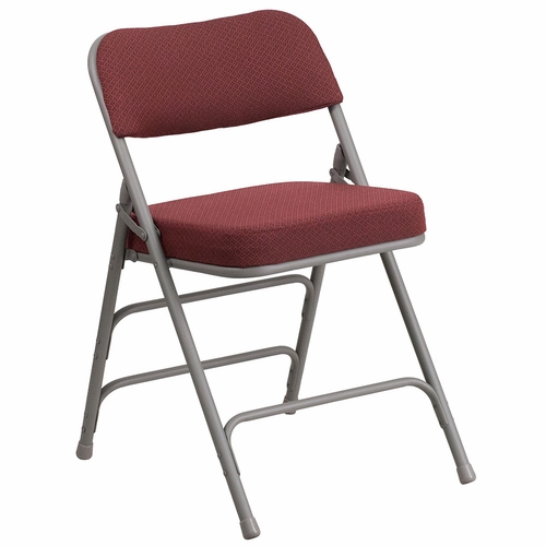 HERCULES Series Premium Curved Triple Braced & Double Hinged Burgundy Fabric Upholstered Metal Folding Chair</font></b>