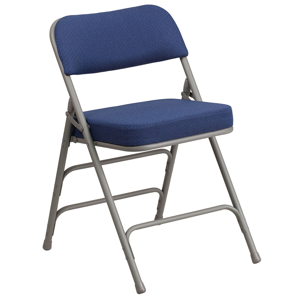 HERCULES Series Premium Curved Triple Braced u0026 Double Hinged Navy Fabric Upholstered Metal Folding Chair  sc 1 st  Ergonomic Home & HERCULES Series Premium Curved Triple Braced u0026 Double Hinged Navy ...