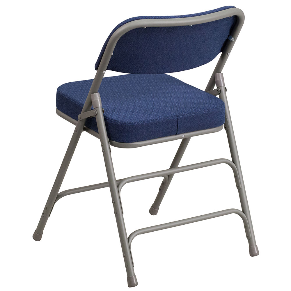 Awesome HERCULES Series Premium Curved Triple Braced U0026 Double Hinged Navy Fabric  Upholstered Metal Folding Chair
