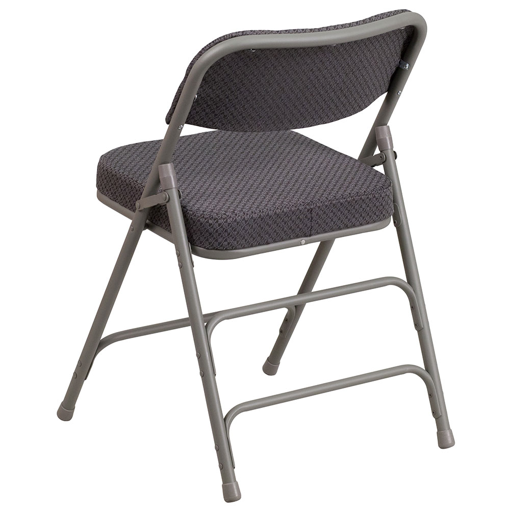 HERCULES Series Premium Curved Triple Braced U0026 Quad Hinged Gray Fabric  Upholstered Metal Folding Chair