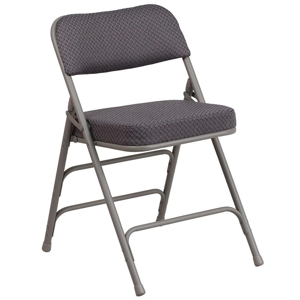 HERCULES Series Premium Curved Triple Braced & Quad Hinged Gray Fabric Upholstered Metal Folding Chair</font></b>