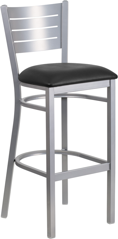 ERGONOMIC HOME TOUGH ENOUGH Series Silver Slat Back Metal Restaurant Barstool - Black Vinyl Seat <b><font color=green>50% Off Read More Below...</font></b>