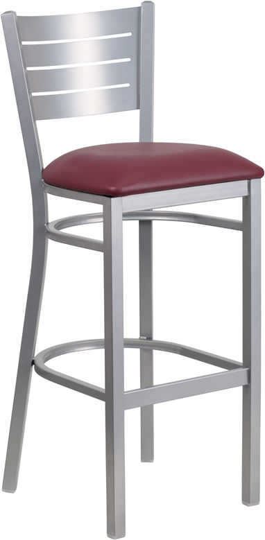 ERGONOMIC HOME TOUGH ENOUGH Series Silver Slat Back Metal Restaurant Barstool - Burgundy Vinyl Seat <b><font color=green>50% Off Read More Below...</font></b>